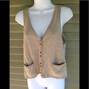Eileen Fisher Size S Cotton Linen Blend Vest